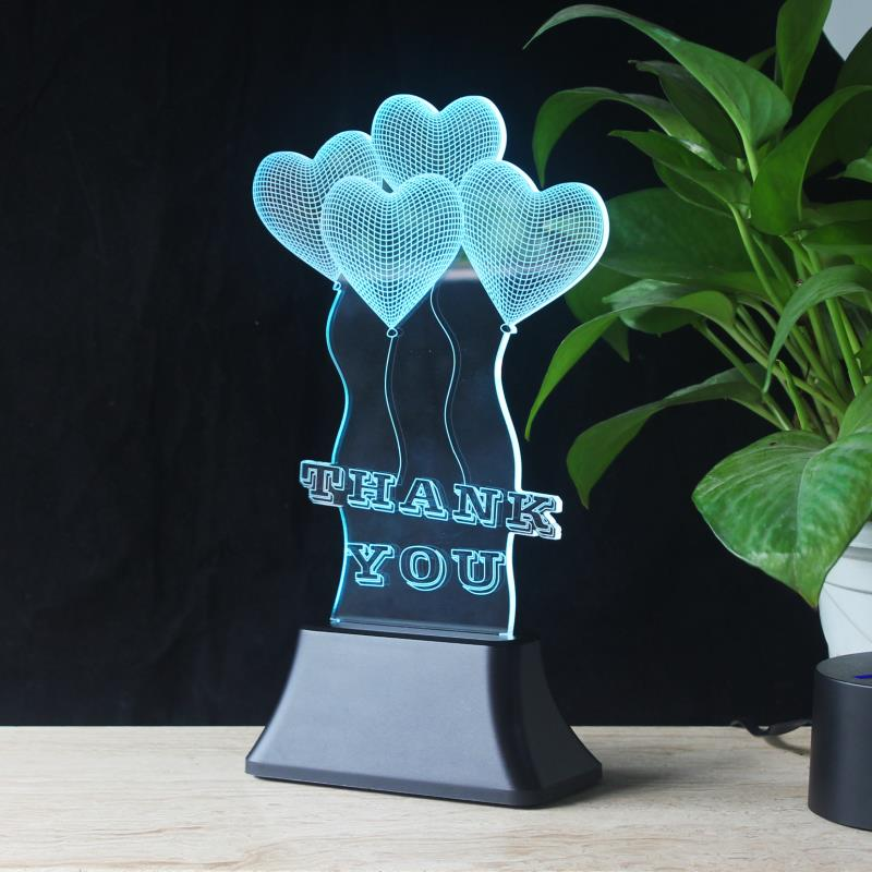 heart-shaped acrylic 3D illusion lamps